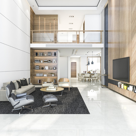 3d rendering wood modern living room and dining room