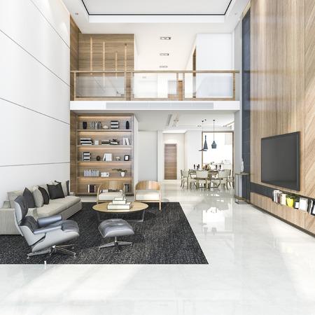 Sala de estar y comedor modernos de madera de representación 3D
