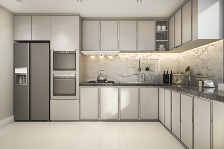 3d rendering beautiful modern kitchen with marble decor