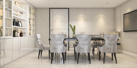 3d 렌더링 식당 문 근처 현대 명품 식당에서 설정 스톡 콘텐츠 - 90320678