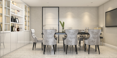 3d rendering dining set in modern luxury dining room near door Stock fotó
