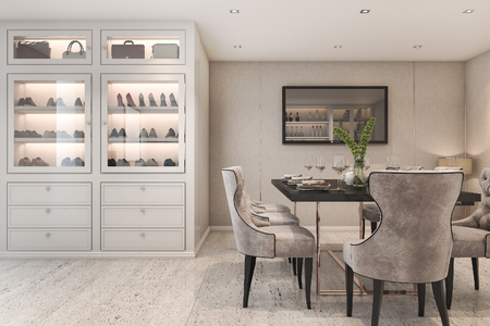 3d rendering modern luxury dining room with bag and shoe cabinet 스톡 콘텐츠