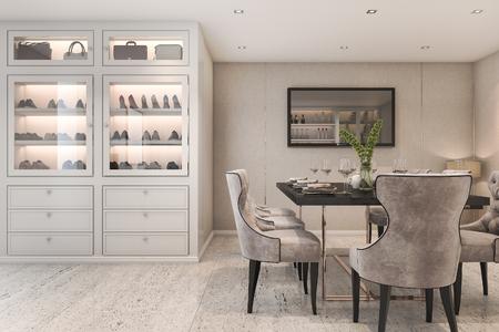 3D-rendering moderne luxe eetkamer met tas en schoenenkast Stockfoto