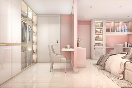 3d rendering cozy pink pastel scandinavian child bedroom with wardrobe Standard-Bild