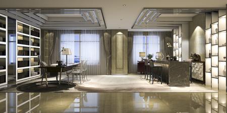 3d rendering modern luxury working room Stockfoto