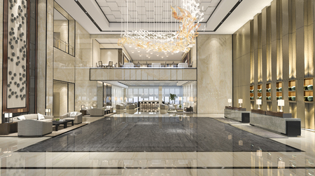 3d rendering luxury hotel reception hall and lounge restaurant 스톡 콘텐츠