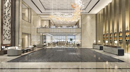 3d rendering luxury hotel reception hall and lounge restaurant Foto de archivo