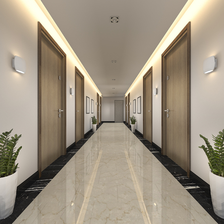 3d rendering modern luxury wood and tile hotel corridor