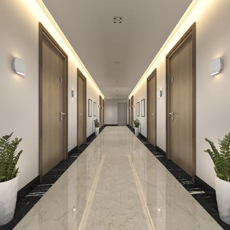 3d rendering nowoczesny luksusowy korytarz hotelowy z drewna i płytek