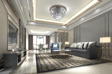 rendu 3d bois luxe et salle de séjour moderne et salle à manger Banque d'images