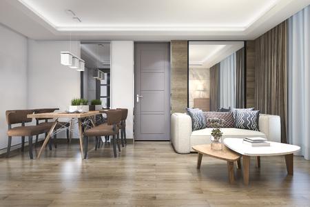 3d rendering drewna luksusowy i nowoczesny salon i jadalnia Zdjęcie Seryjne