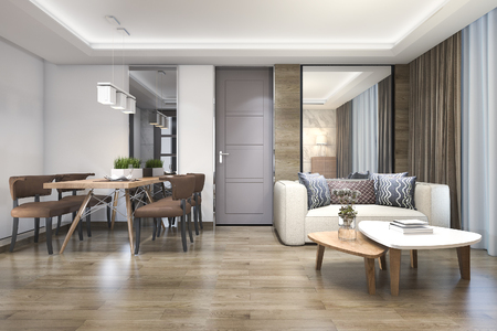 3d rendering wood luxury and modern living room and dining room