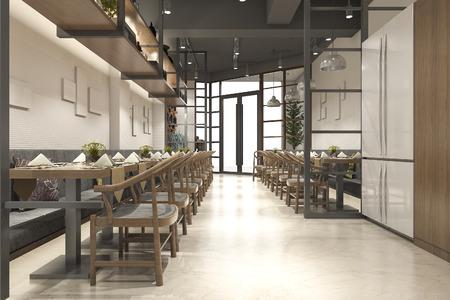 3d rendu loft bois réception de réception de luxe et café lounge restaurant