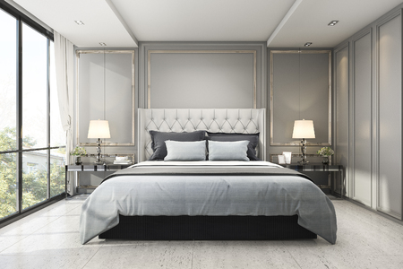 3d Rendering Modern Luxury Classic Bedroom With Marble Decor Stock Photo    94389033