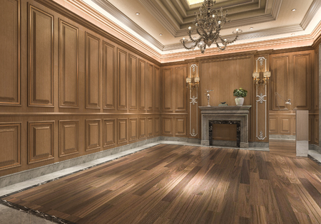 3d rendering empty wood classic lobby room with nice wall panel