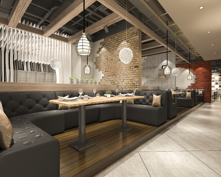 3d rendering loft and luxury hotel reception and cafe lounge restaurant Imagens