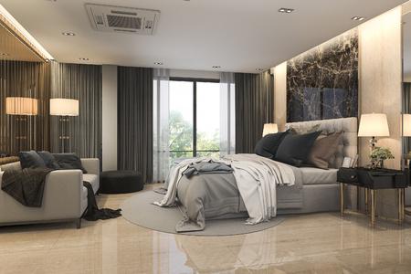 3d Rendering Modern Loft Luxury Bedroom Suite With Sofa Near Mirror Stock  Photo   98385074