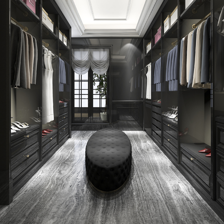 3d rendering modern scandinavian white wood walk in closet with wardrobe Banco de Imagens
