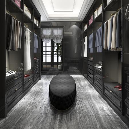 3d rendering modern scandinavian white wood walk in closet with wardrobe Foto de archivo
