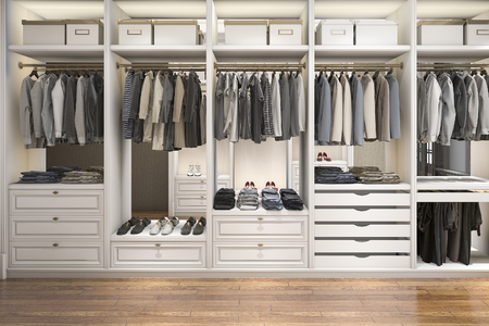 3d rendering modern scandinavian white wood walk in closet with wardrobe Stock Photo