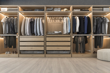 3d Rendering Modern Scandinavian White Wood Walk In Closet With Wardrobe  Near Window Stock Photo