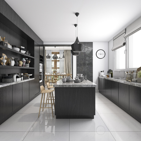 3d rendering industrial style kitchen with black wood dining zone