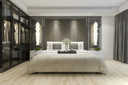 3d rendering luxury modern bedroom suite tv with wardrobe and walk in closet