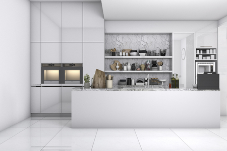 3d rendering scandinavian kitchen with white and black design Imagens