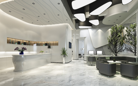 Representación 3d de la recepción y el salón del hotel de lujo moderno