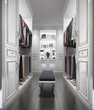 3d rendering classic white wood walk in closet with wardrobe