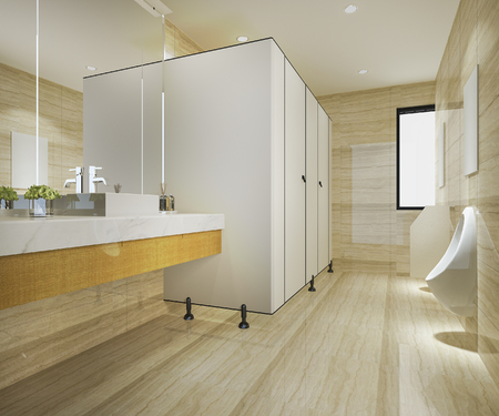 3d rendering wood and modern tile public toilet