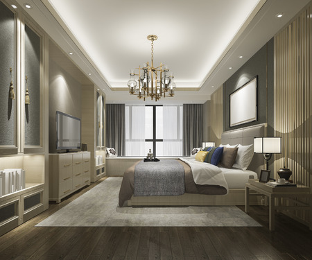 3d Rendering Beautiful Luxury Chinese Bedroom Suite In Hotel With Tv Stock  Photo   106948388