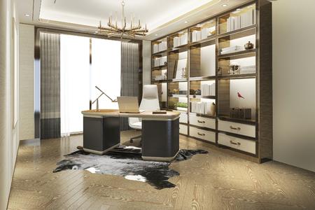 Sala de trabajo de lujo moderno de renderizado 3d Foto de archivo