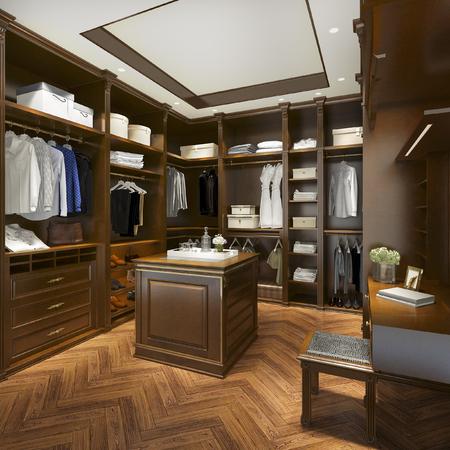 Representación 3d de lujo de madera escandinava vestidor con armario