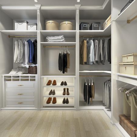 Representación 3d de lujo de madera escandinava vestidor con armario Foto de archivo