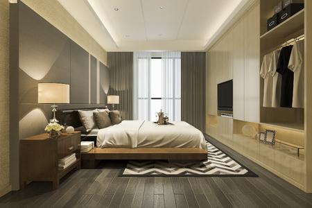 Renderowania 3d luksusowy nowoczesny telewizor z sypialnią z garderobą i garderobą