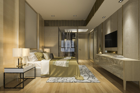 3d rendering luxury modern bedroom suite in hotel with wardrobe and walk in closet