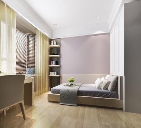 Renderowania 3d piękna różowa sypialnia dziecięca w stylu vintage