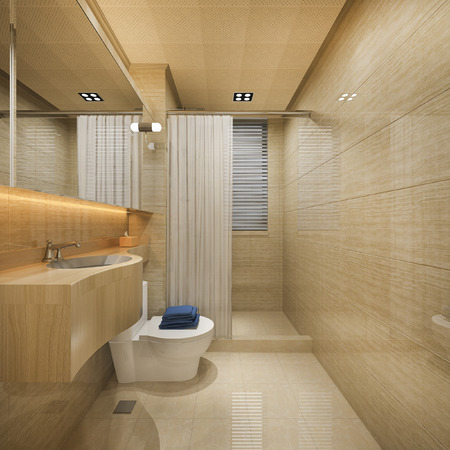 3d rendering wood and tile design bathroom near window