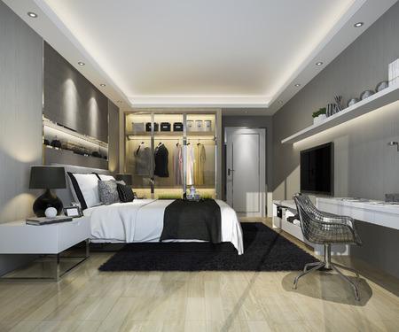 3d rendering luxury modern bedroom suite tv with wardrobe and walk in closet Banco de Imagens