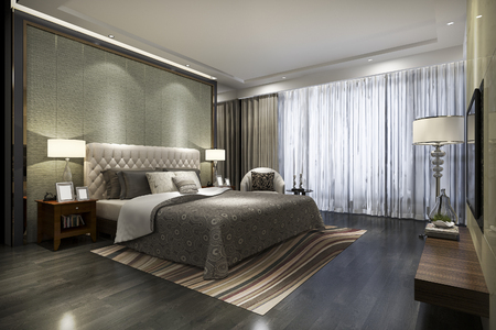 3d rendering beautiful luxury bedroom suite in hotel with tv Stock fotó