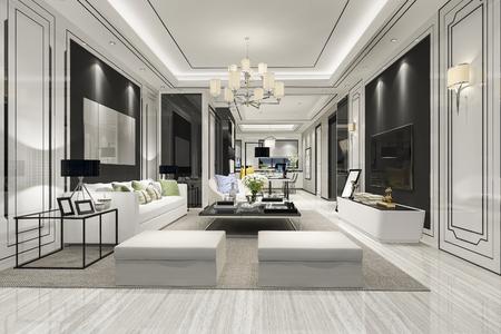 Modernes Esszimmer und Wohnzimmer des 3D-Renderings mit Luxusdekor