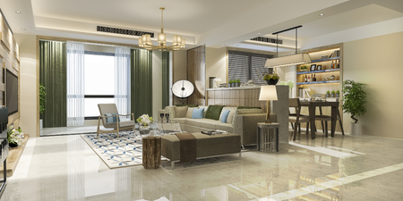 3d rendering modern dining room and living room with luxury decor 版權商用圖片 - 121800894