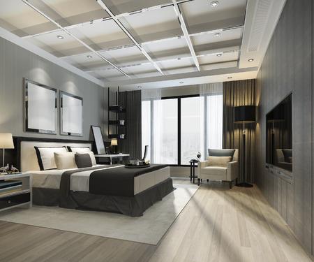 3d rendering beautiful luxury bedroom suite in hotel with tv 版權商用圖片 - 121800898