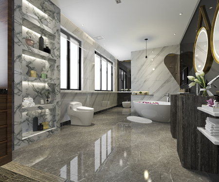 3d rendering modern bathroom with luxury tile decor 版權商用圖片 - 121800902