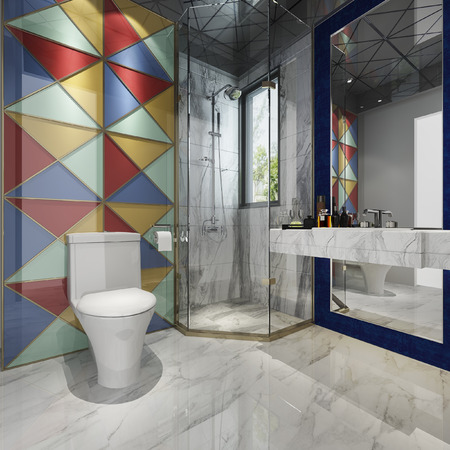 3d rendering modern bathroom with colorful tile decor 版權商用圖片 - 121800903