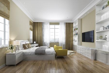 Dormitorio de madera contemporáneo de renderizado 3D con estantería incorporada