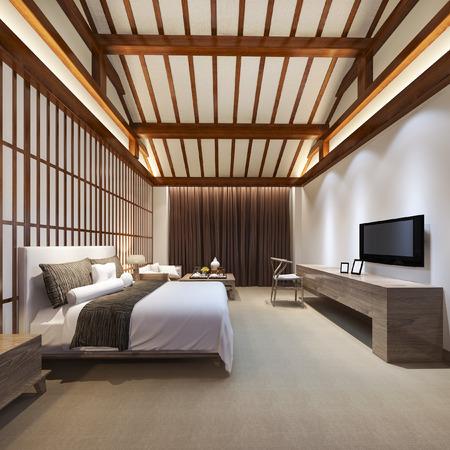 3d rendering luxury chinese bedroom suite in resort hotel 免版税图像