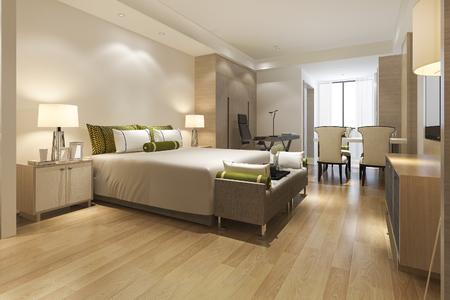 3D-rendering luxe moderne slaapkamer suite in hotel Stockfoto