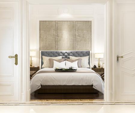 3D rendering camera da letto classica di lusso moderna con decorazioni in marmo